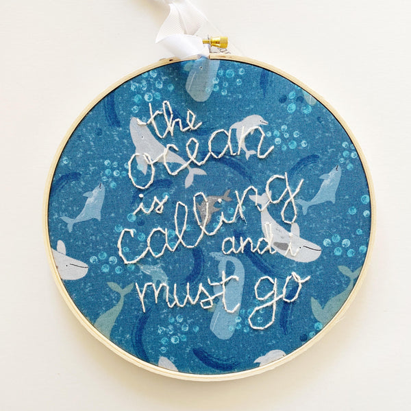 The Ocean is Calling Hand-Stitched Embroidery Decor