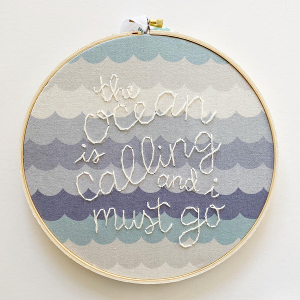 Ocean is Calling Hand-Stitched Embroidery Decor