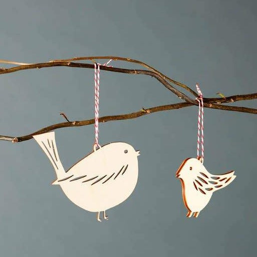 birds wooden ornament set of 2