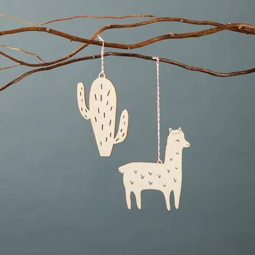 Llama and Cactus wood Ornament Set