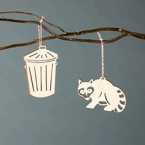 Raccoon and Trash Can Wooden Ornament Set