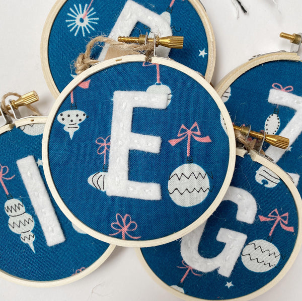 Initial Christmas Ornament - Retro Ornaments in Blue fabric with while letter