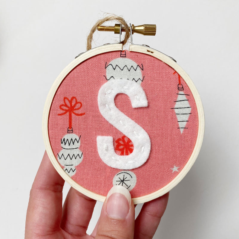 Initial Christmas Ornament - Retro Ornaments in Pink