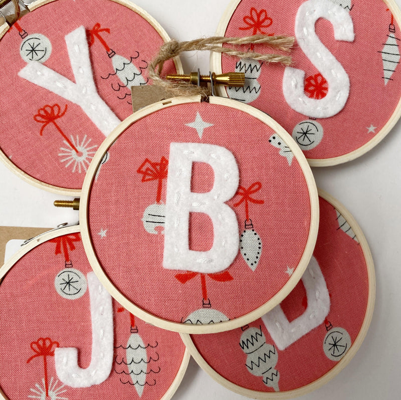 Initial Christmas Ornament - Retro Ornaments in Pink fabric with witer letter