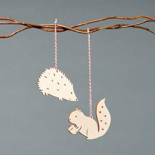 Squirrel and Hedgehog Ornament Set