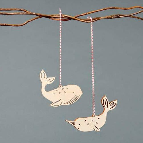 Narwhal and Whale Ornament Set