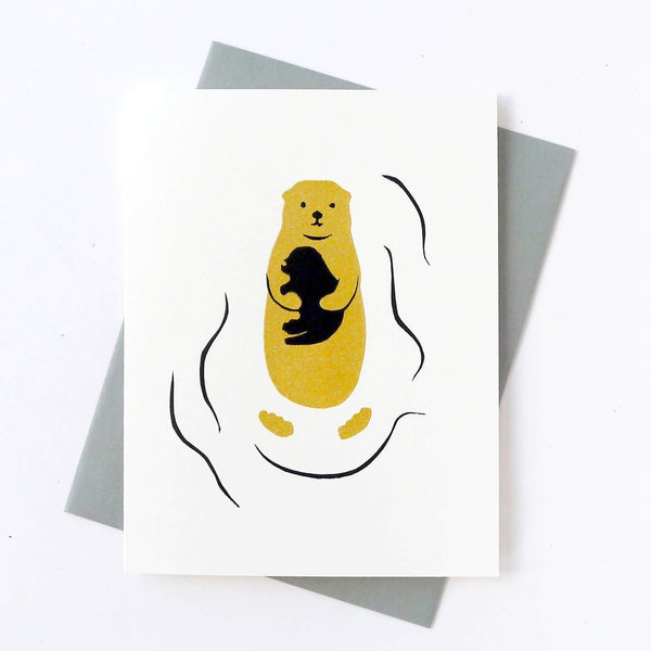 Otter Baby with otter parent Greeting Card