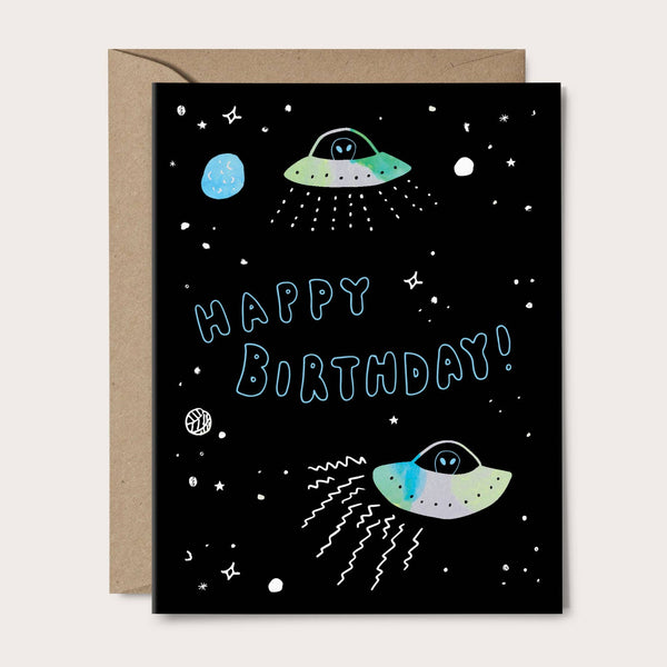 birthday card with aliens and space ships