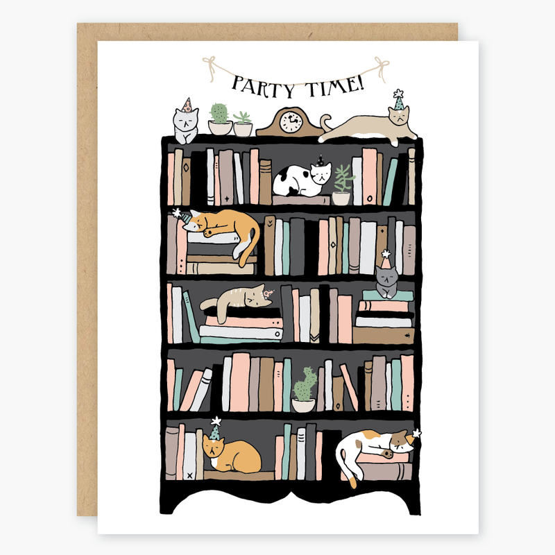 Party Cats Birthday Card on bookcase