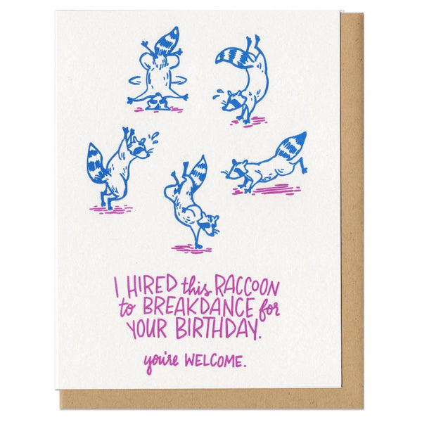 Breakdance Raccoon Birthday greeting Card