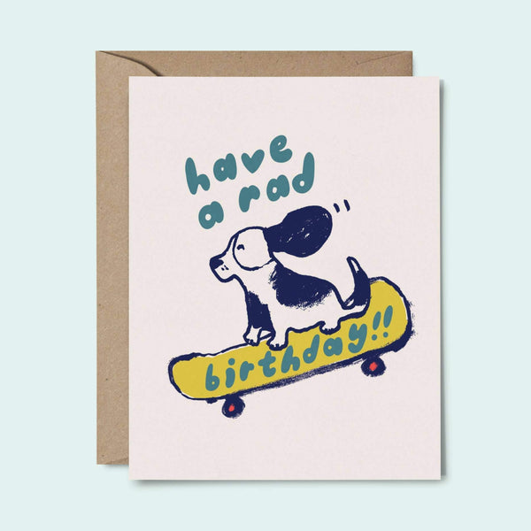 Have a Rad Bday Card dog on skateboard