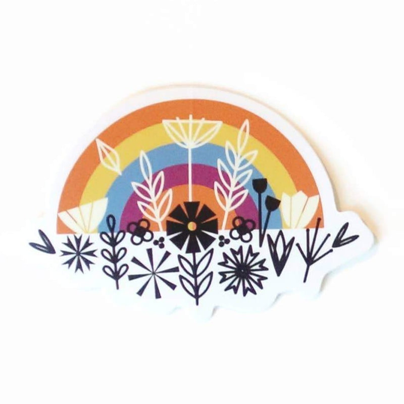 Floral Rainbow Sticker with black graphic flowers