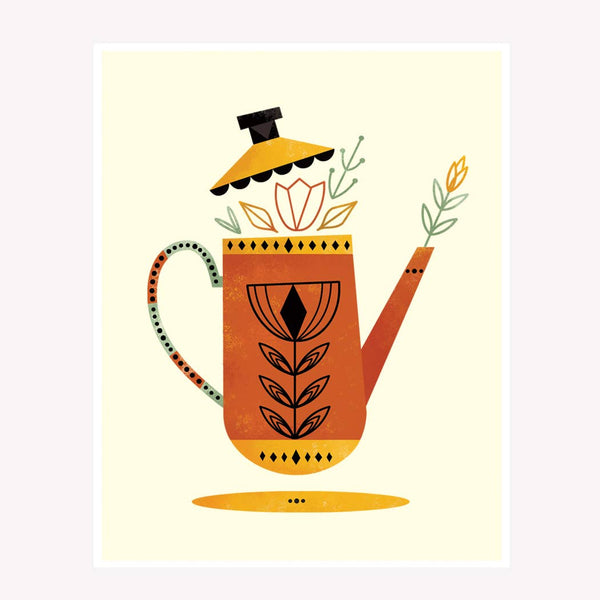 Red Tea Kettle Art Print