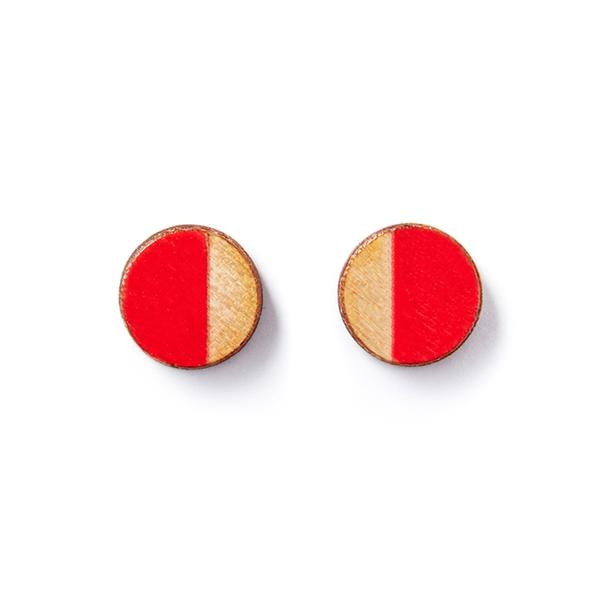 Round Red Wood Earrings