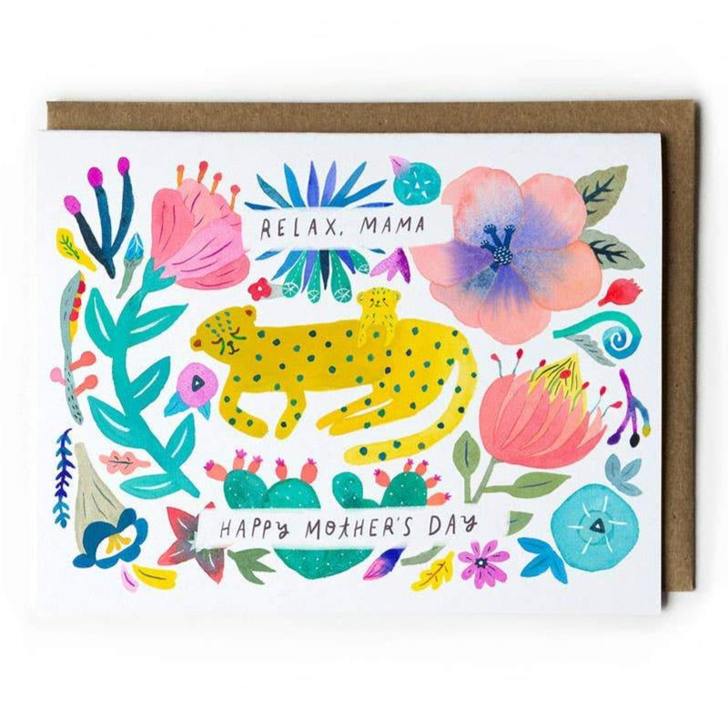 Relax mama card with flowers and cheetahs
