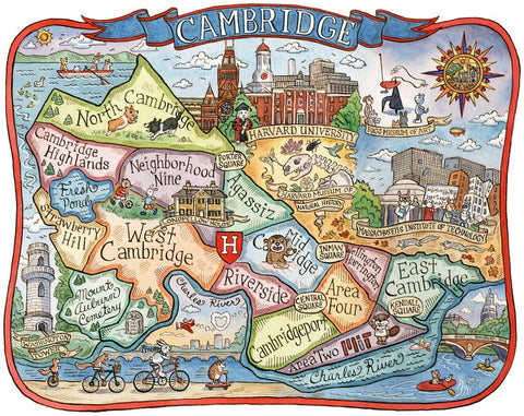 Cambridge Neighborhoods Map Print