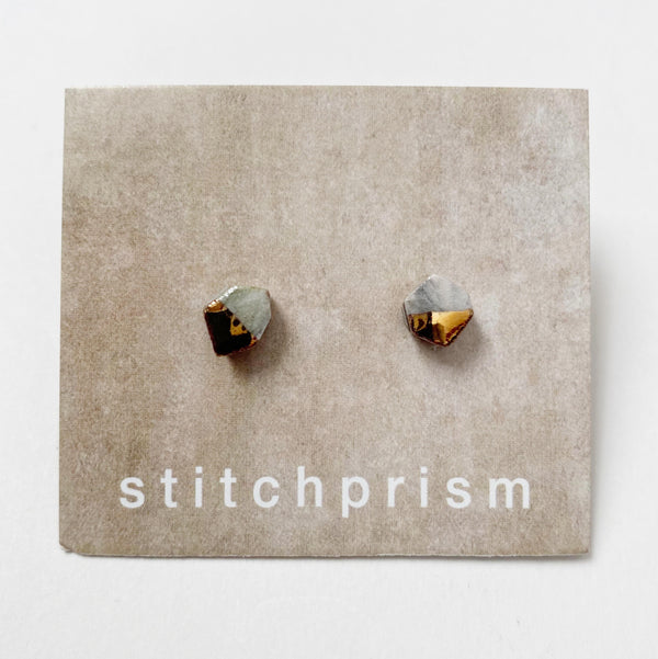 Grey and gold ceramic stud earrings