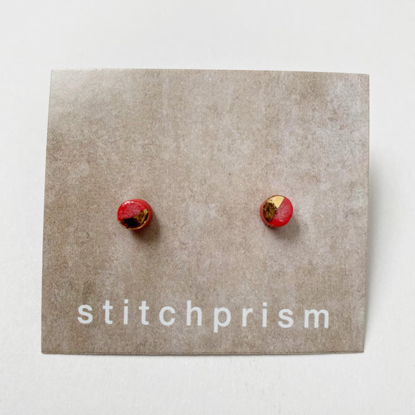 Red and gold ceramic stud earrings