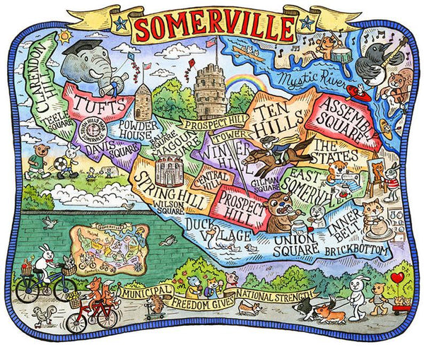 Somerville Neighborhoods Map Art Print