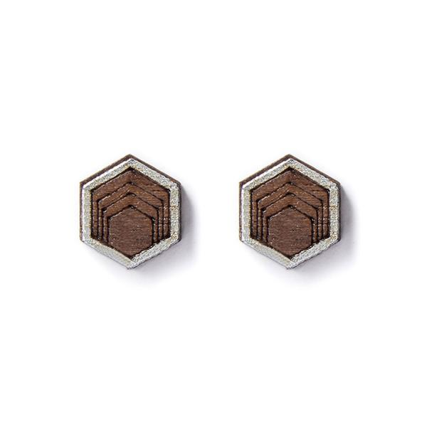 Silver Hexagon Wood Earrings