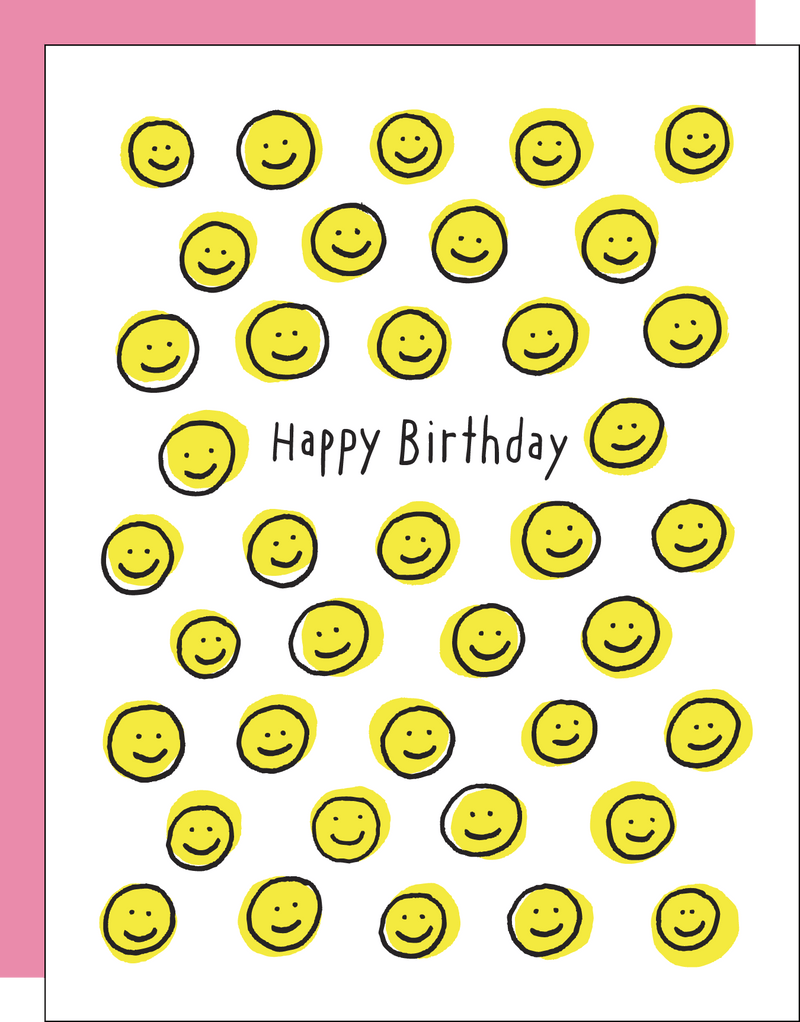 Birthday Card with Smiley Faces