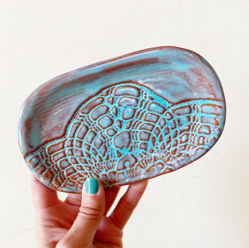 Blue ceramic soap dish