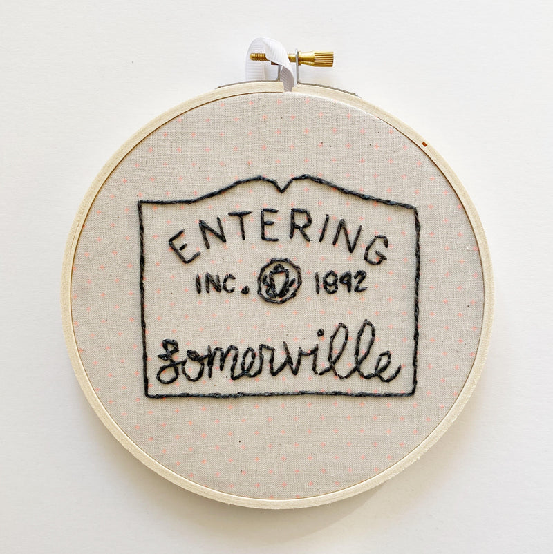 Entering Somerville Hand-Stitched Embroidery in Orange Fabric