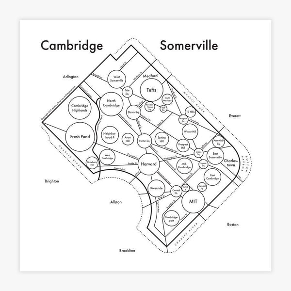 Somerville Map Letterpress Print