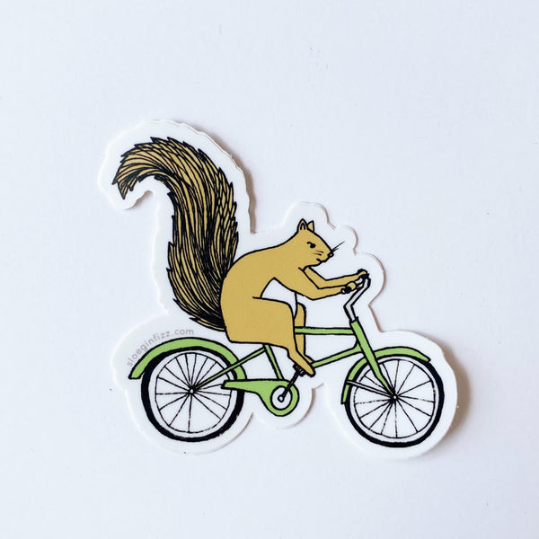 biking squirrel sticker