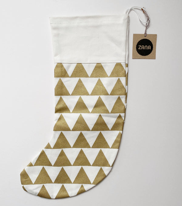 Christmas stocking with gold triangles