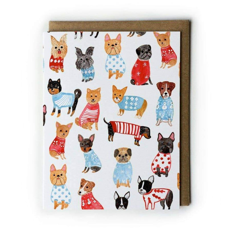 Greeting Card with Dogs in Sweaters