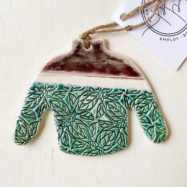 Ceramic sweater Christmas ornament