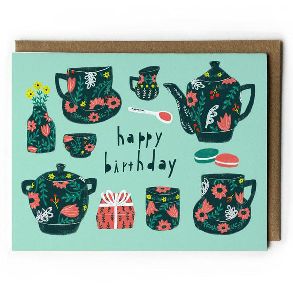 Tea Set Birthday Card
