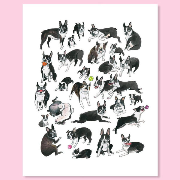 Art print featuring boston terriers