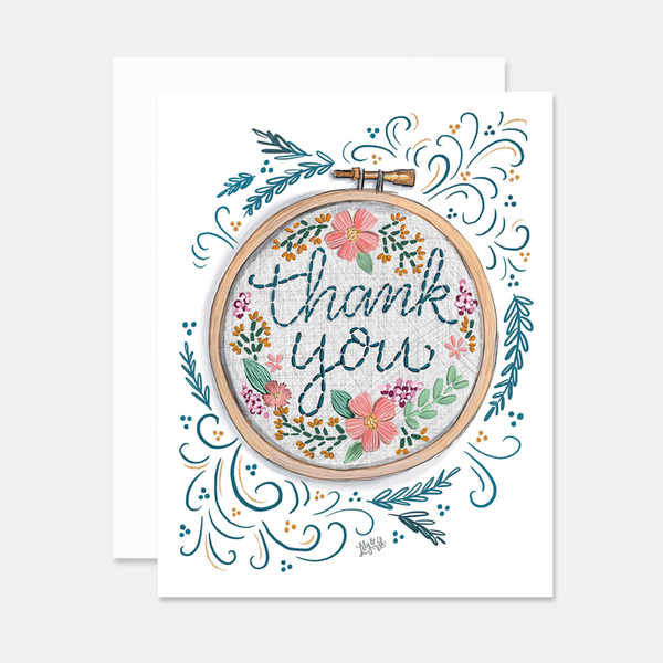 Thank You Card with Embroidery Hoop Design