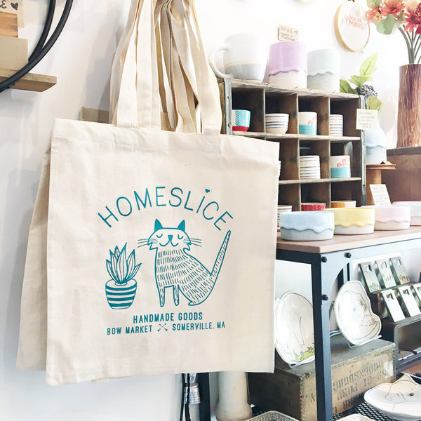 Homeslice Tote Bag - canvas with teal text