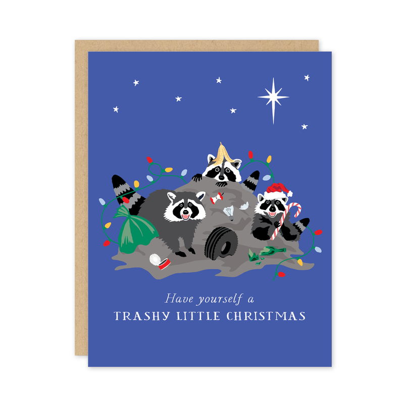 Trashy Christmas Raccoon Card
