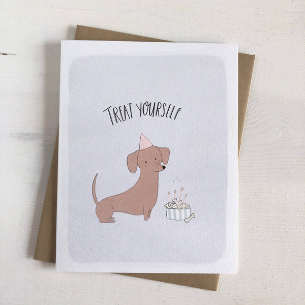 Treat Yourself Birthday Card with Dog in Party Hat