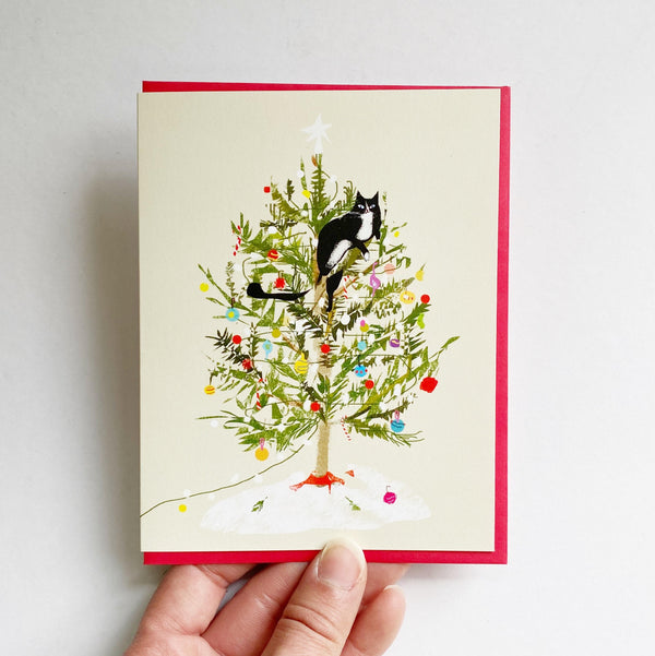Christmas Tree Climbing Cat Card