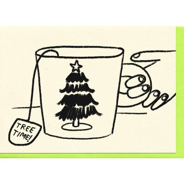 Christmas card with mug and tree
