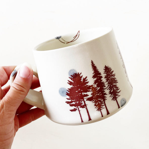Forest Mug - white with brown trees