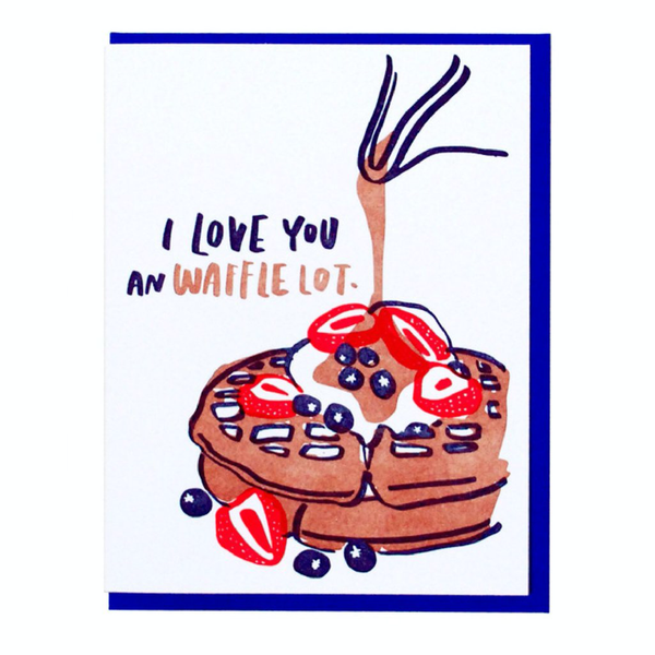 Waffle themed valentine's day greeting card