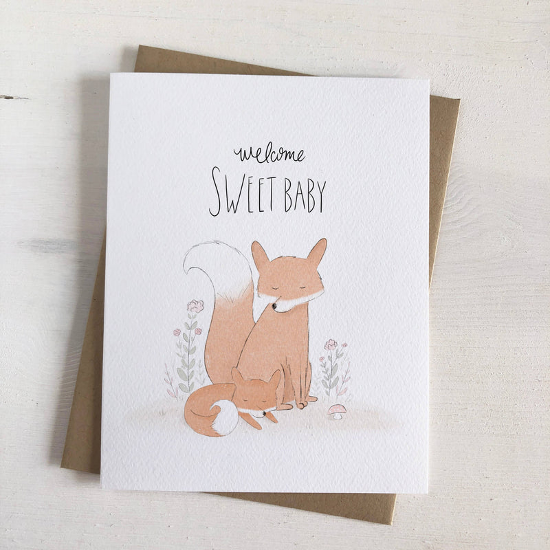 Welcome baby card with foxes