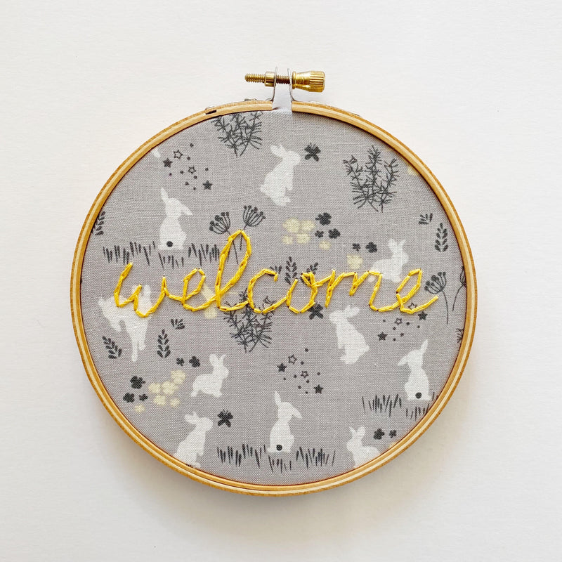 Welcome Hand-stitched embroidery hoop art