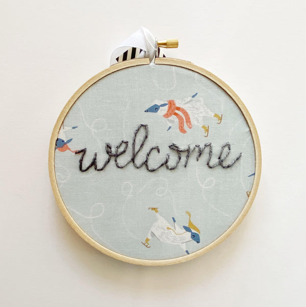 Welcome embroidery hoop art