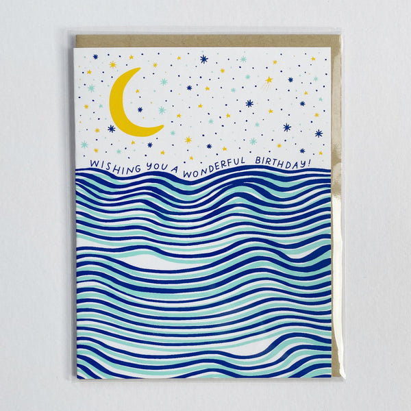 Birthday Card with waves and moon