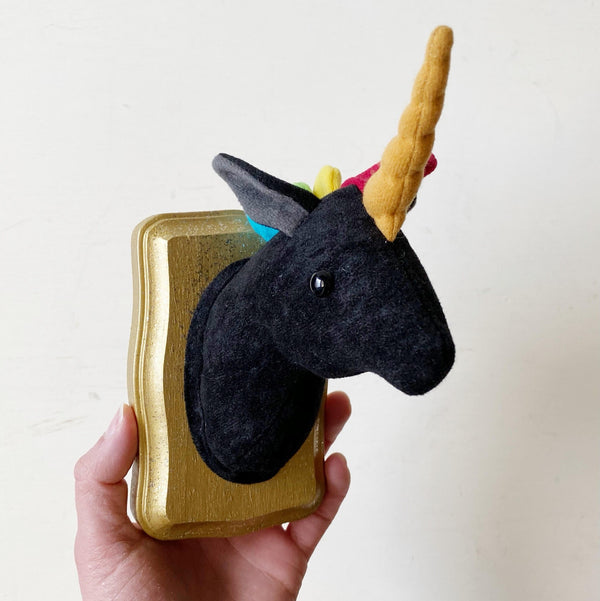 Black Unicorn Faux Taxidermy wall hanging