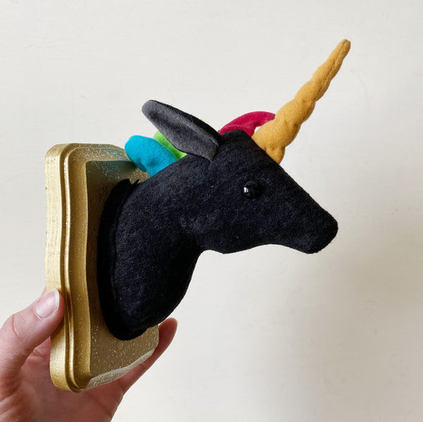 Black Unicorn Faux Taxidermy