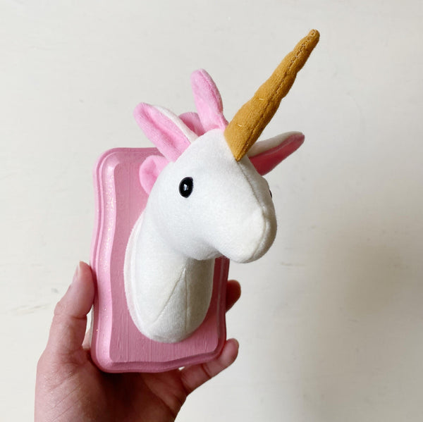 White and Pink Unicorn Faux Taxidermy