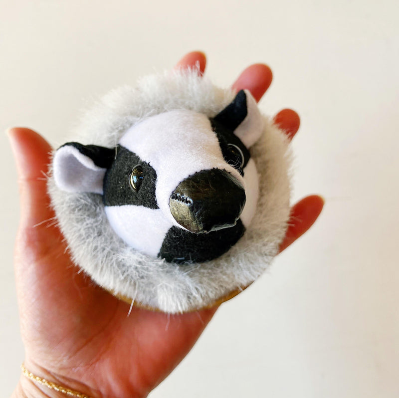 badger faux taxidermy wall hanging